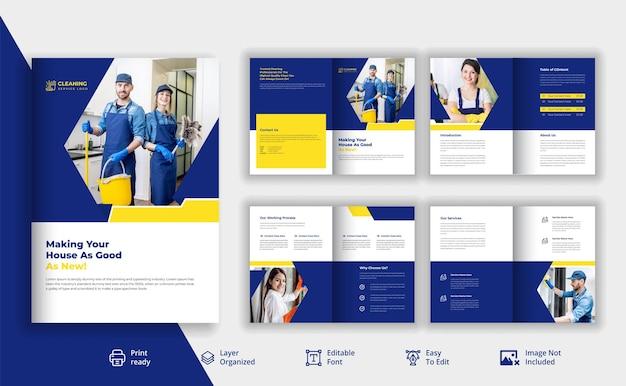 Usługa sprzątania broszura promocyjna projekt wektor premium