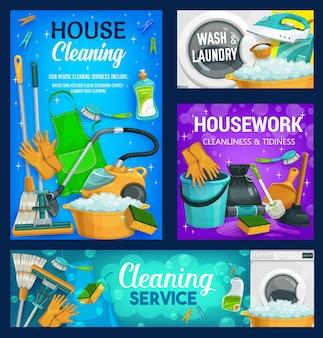 Usługa sprzątania domu, środki czystości, prace domowe i pralnia.