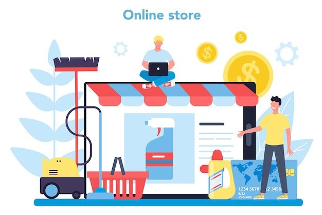 Usługa sprzątania lub firmowa usługa lub platforma online