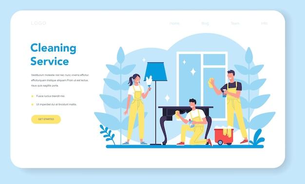 Usługa sprzątania lub firmowy baner internetowy lub strona docelowa.