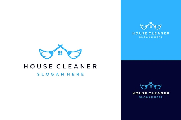 Usługa sprzątania projektu logo dla domów lub mioteł z dachami i oknami