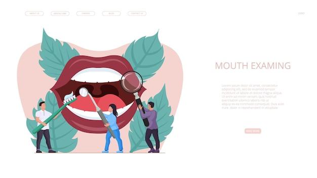 Usługa stomatologiczna do badania jamy ustnej w klinice stomatologicznej. zespół lekarza dentysty zapewniający higienę jamy ustnej, opiekę zdrowotną i leczenie zębów pacjentowi w nowoczesnym szpitalu projekt strony docelowej ilustracji wektorowych