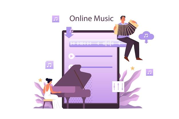 Usługa strumieniowego przesyłania muzyki i koncepcja platformy. współczesny wykonawca popu lub muzyki klasycznej, muzyk lub kompozytor. przesyłanie strumieniowe muzyki online z innego urządzenia. płaskie ilustracji wektorowych