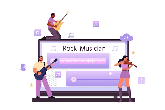 Usługa strumieniowego przesyłania muzyki i koncepcja platformy. współczesny wykonawca rockowego popu lub muzyki klasycznej, muzyk lub kompozytor. przesyłanie strumieniowe muzyki online z innego urządzenia.
