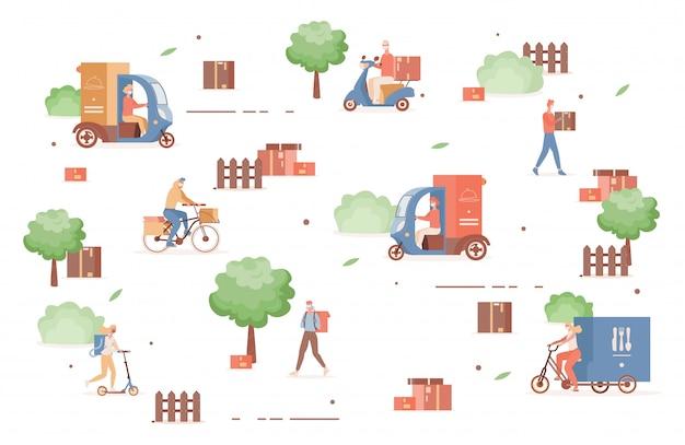 Usługa szybkiej dostawy online podczas epidemii koronawirusa. ludzie w maskach oddechowych prowadzący skutery, rowery i ciężarówki z płaską ilustracją żywności i towarów.