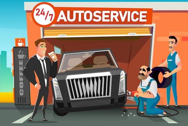 Usługa szybkiej wymiany kół samochodowych podczas przerwy kawowej.
