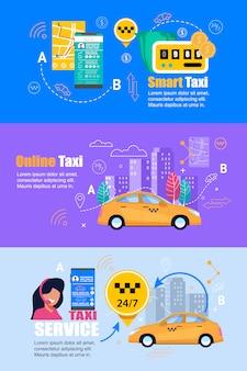 Usługa taxi smartphone. płaski zestaw bannerów internetowych.