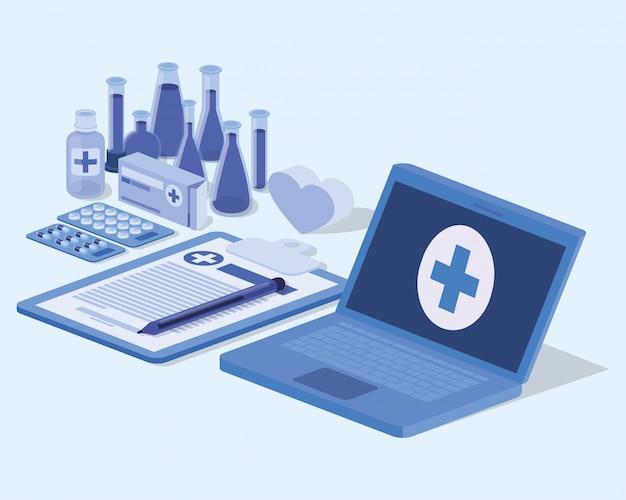 Usługa telemedycyny na laptopie z listą kontrolną