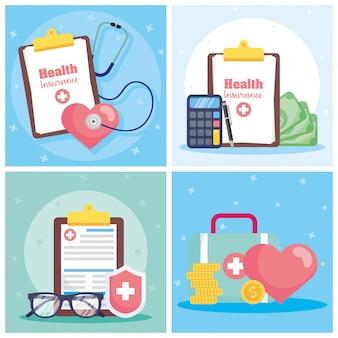 Usługa ubezpieczenia zdrowotnego z zamówieniami i ikonami z listy kontrolnej