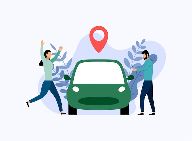 Usługa udostępniania samochodu, mobilny transport miejski, koncepcja biznesowa