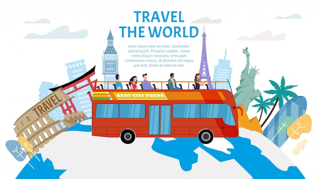Usługa wycieczek autobusowych płaski baner