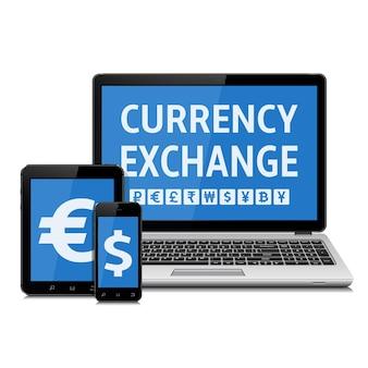 Usługa wymiany walut na ekranach urządzeń cyfrowych
