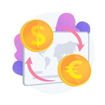 Usługa wymiany walut. przelew pieniężny, wymiana dolara na euro, kupno i sprzedaż zagranicznych pieniędzy. złote monety z symbolami waluty ue i usa. ilustracja wektorowa na białym tle koncepcja metafora