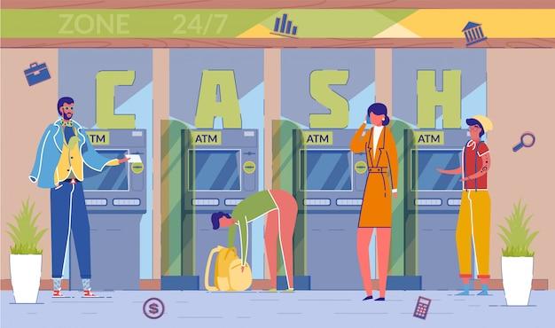 Usługa wypłaty gotówki z bankomatu, z której korzystają ludzie