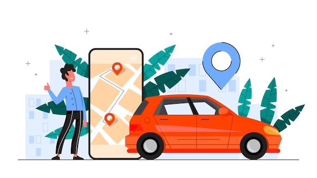 Usługa wypożyczania samochodów. idea współdzielenia pojazdów i transportu. aplikacja mobilna do wynajmu samochodów. ilustracja