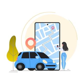 Usługa wypożyczania samochodów. idea współdzielenia pojazdów i transportu.