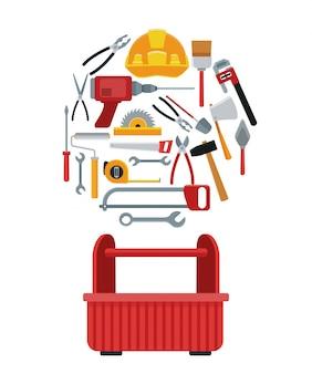Usługa zestawu narzędzi budowlanych vector ilustration icon urban
