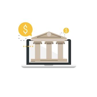 Usługi bankowe i finansowe. technologia bankowości online, budynek banku, usługa finansowa w internecie, inwestycje finansowe płaski projekt ilustracji wektorowych dla mobilnych i grafiki internetowej