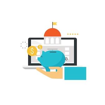 Usługi bankowe i finansowe. technologia bankowości online, oszczędności, usługa finansowa w internecie, inwestycje biznesowe płaska ilustracja do projektowania grafiki mobilnej i grafiki internetowej