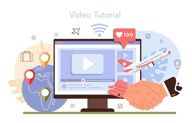 Usługi biura podróży usługi online lub transfer platformy