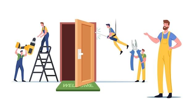 Usługi budowlane. mistrzowskie męskie postacie naprawiają lub ustawiają nowe drzwi w mieszkaniu. inżynierowie w szatach roboczych, stolarze, mechanicy pracują ze sprzętem i narzędziami. ilustracja wektorowa kreskówka ludzie