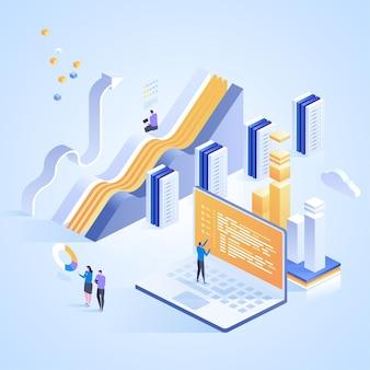Usługi centrum danych. połączenie z internetowym centrum danych, administrator koncepcji hostingu. izometryczna ilustracja na stronę docelową, projektowanie stron internetowych, baner i prezentację.