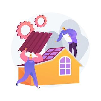 Usługi dekarskie abstrakcyjne pojęcie ilustracji. naprawa dachu, wykonawcy pokryć szczytowych, konserwacja domu, kontrola szczelności, nowa instalacja dachu, uszkodzenia spowodowane burzą, nachylenie