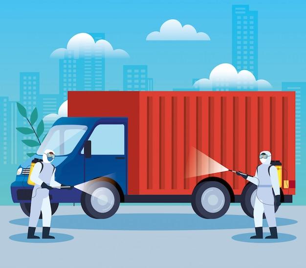 Usługi dezynfekcji samochodów ciężarowych dla projektu ilustracji choroby covida 19