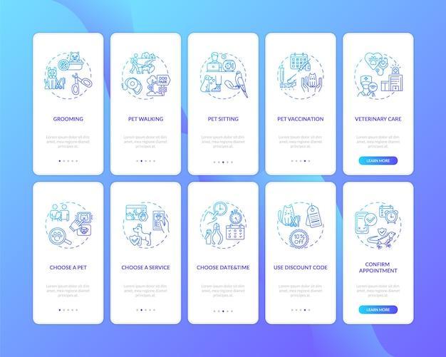 Usługi dla zwierząt domowych wprowadzające ekran strony aplikacji mobilnej z ustawionymi koncepcjami