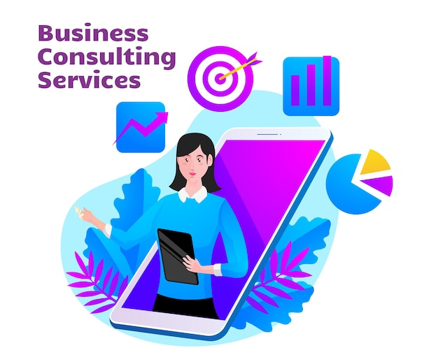 Usługi doradztwa biznesowego z symbolem kobiety i smartfona