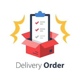 Usługi dostawcze, polisa ubezpieczeniowa, regulamin, schowek i otwarte pudełko, lista kontrolna przesyłki, dystrybucja paczek, płaska ilustracja