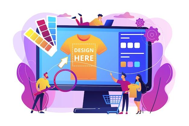 Usługi drukowania na koszulkach na żądanie. projekt odzieży promocyjnej. odzież handlowa, produkty niestandardowe, koncepcja usług projektowania towarów.