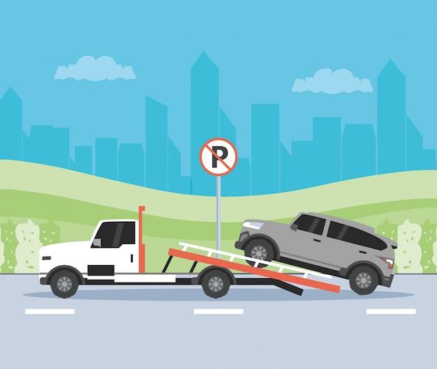 Usługi dźwigów samochodowych w scenie strefy parkowania
