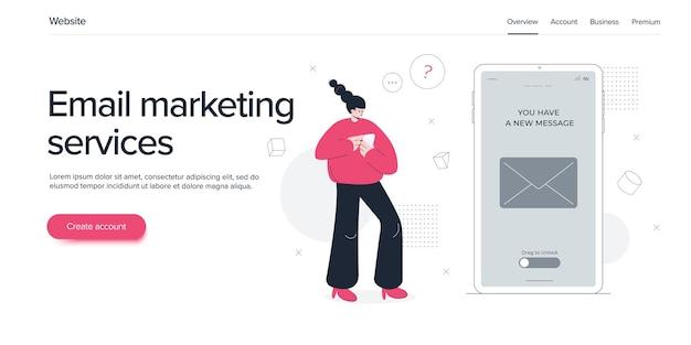 Usługi e-mail w ilustracji wektorowych płaski. koncepcja wiadomości poczty elektronicznej jako marketingu biznesowego. newsletter wysyłający układ usługi mobilnej lub webmail. szablon banera internetowego.