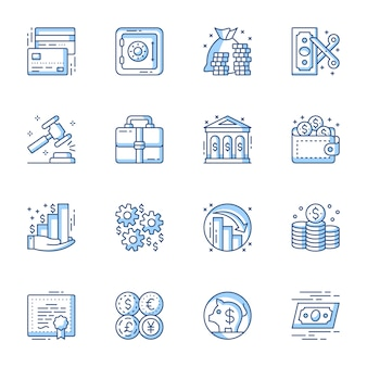 Usługi finansowe i bankowe liniowy wektor zestaw ikon.
