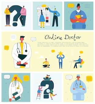 Usługi firmy medycznej online koncepcja lekarza. medyczny nowoczesny płaski wektor koncepcja cyfrowa ilustracja lekarz z zestawem słuchawkowym rozmawia przez telefon na konsultację lekarską.