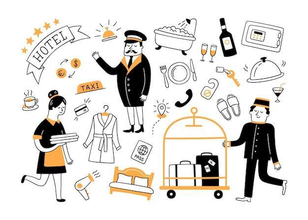 Usługi hotelowe i personel hotelowy. ręcznie rysowane obiekty.