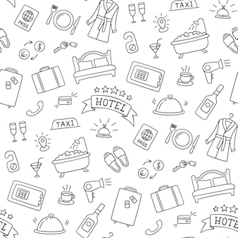 Usługi hotelowe ręcznie rysowane wzór. łóżko, wanna, sejf, śniadanie, szlafrok i inne przedmioty.