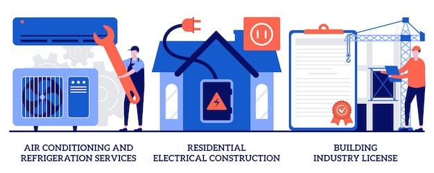 Usługi klimatyzacyjne i chłodnicze, elektryczne budownictwo mieszkaniowe, koncepcja licencji budowlanej z malutkimi ludźmi. konstruktor wykonawca usług streszczenie wektor zestaw ilustracji.