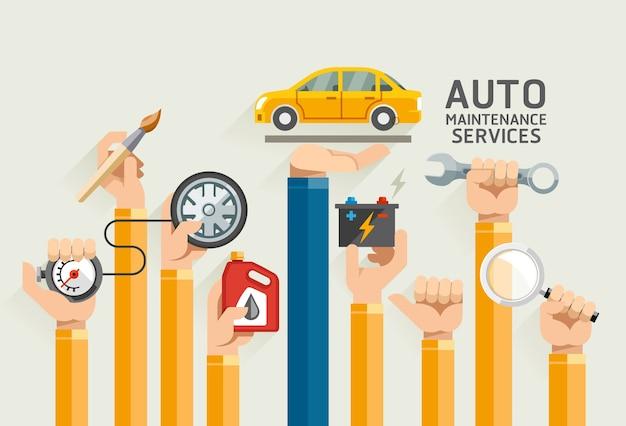 Usługi konserwacji samochodów.