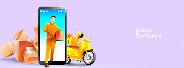 Usługi kurierskie i skutery online za pośrednictwem telefonu komórkowego lub smartfona. ilustracja