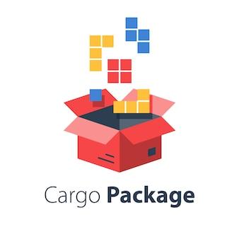 Usługi logistyczne, montaż paczki, wielokrotne zamówienie w sklepie, pakowanie dużego zestawu przedmiotów w pudełku, wysyłka do sklepu, płaska ilustracja