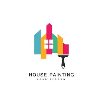 Usługi malowania domu, wystrój i naprawa wielokolorowa ikona. logo wektor, etykieta, projekt godła. koncepcja dekoracji wnętrz, budowy, budowy domów i barwienia.
