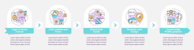 Usługi marki wektor infographic szablon. paleta kolorów, elementy projektu zarys prezentacji czcionek. wizualizacja danych w 5 krokach. wykres informacyjny osi czasu procesu. układ przepływu pracy z ikonami linii