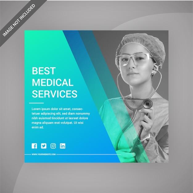 Usługi medyczne social media post lub print template