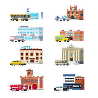 Usługi miejskie i budynki zestaw ortogonalny