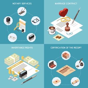 Usługi notarialne koncepcja projektowa 2x2 zestaw ilustracji izometrycznej