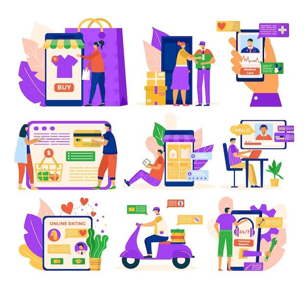 Usługi online dla ludzi zestaw ilustracji. osoba otrzymuje pomoc medyczną w aplikacji na telefon, randki online, pomoc techniczną przez internet.