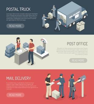 Usługi pocztowe 3 izometryczne banery