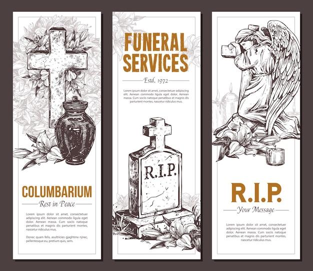 Usługi pogrzebowe ręcznie rysowane banery z ilustracja szkic